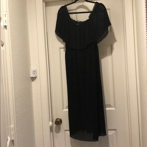 Express plisse black off the shoulder dress large